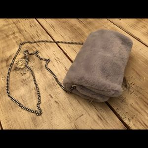 Bags - Gray fur, small fold out purse! Brand new!